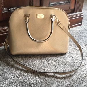 Michael Kors gold satchel bag used once pristine